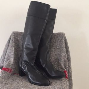 J Crew Knee Length Black Leather Boots Size 11